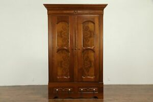 Victorian Antique Walnut Burl Armoire Wardrobe Or Closet 31706