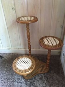 Vintage 3 Tiered Wood Plant Stand With Cane Inserts Nice