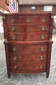 Reduced Price Outstanding 1940s Crotch Mahogany High Chest On Chest Of Drawers