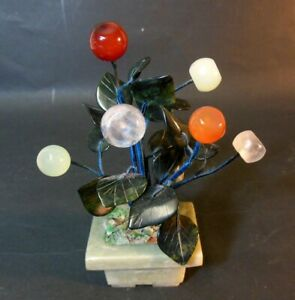 Vtg Chinese Asian Fruit Bonsai Tree Jade Carnelian Rock Crystal Soapstone