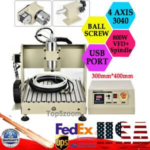 Usb 4 Axis 800w Cnc 3040 Router Engraver Engraving Drilling Machine Ball screw