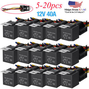 Lots 12v 30 40 Amp 5 pin Spdt Automotive Relay With Wires Harness Socket Set