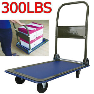 Platform Hand Truck Folding Dolly Cart Push Moving Warehouse Foldable Flat Bed