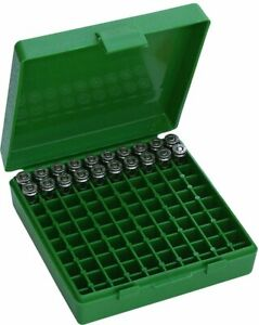 MTM 9mm 380 Ammo Box 100 Round Flip Top Ammunition Storage Case for Range Bag
