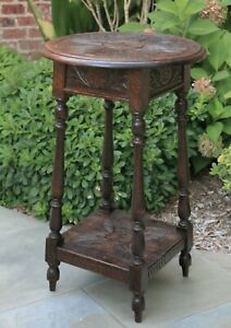 Antique English Oak End Table Round Carved Top Occasional Side Table C 1900