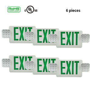 Fire Emergency Exit Led Light With Battery Buck Up Standard Universal Combo 6pcs