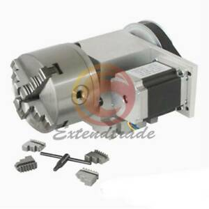 Axis 4th Hollow Shaft Cnc Router Rotational A Axis 100mm 4 Jaw Chuck Engraving