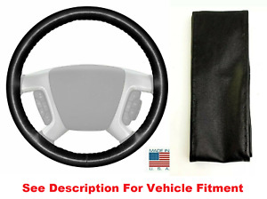 Black Leather Steering Wheel Cover Stitch On For Gmc Buick Honda
