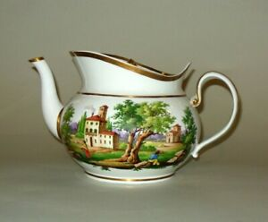 Rare Prow Boat Tea Pot Ceramic Hand Painted Museum 19th C Coffee