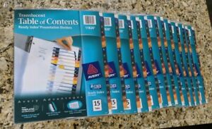 lot Of 12 New Avery Translucent Tofc Ready Index Pres Dividers 15 tab 11820
