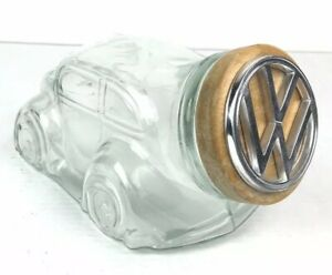 Rare Vtg Volkswagen Vw Beetle Bug Car Shaped Clear Glass Canister Jar W Lid