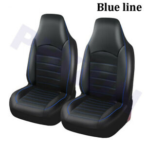 2x Black Pu Leather Universal Car Bucket Seat Cover Coupe Protector Blue Trim
