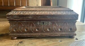 Antique Carved Wooden Victorian Jewellery Box Mirror