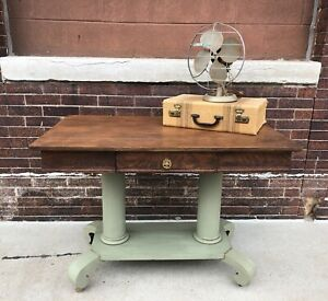 Vintage Wood Desk Tiger Oak Vintage Library Table