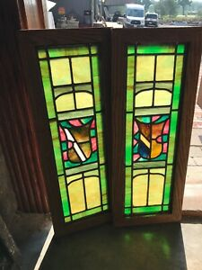 Sg 2985 Pair Antique Restored Stained Glass Windows 10 X 26 25
