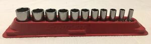Snap On 11 Pc 6pt 3 8 Drive Socket Set In Magnetic Tray 211fsy Very Nice