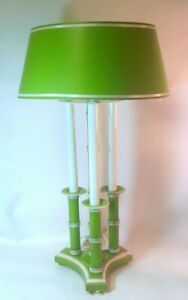 Vtg Faux Bamboo Tole Lamp W Shade Green Palm Beach Hollywood Regency Glam