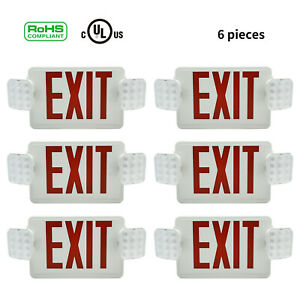 Battery Back up Emergency Exit Led Light Lamp Lighting Fire Fixtures Red 12pcs