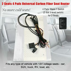 Universal Heated Pad Carbon Fiber Seat Heater 2 dial 5 level Switch Kit 2 Seats