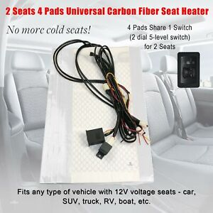 Carbon Fiber Universal Seat Heater 2 Dial 5 Level Switch Kit 2 Seats Car Cushion