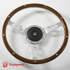 13 Classic Riveted Wooden Steering Wheel Custom Ford Mustang Shelby Ac Cobra
