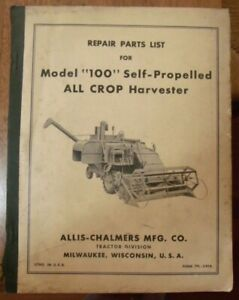Allis Chalmers Model 100 All Crop Harvester Repair Parts List 1950 s