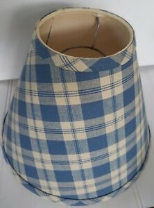 Vtg 7 Fabric Lamp Shade Blue Ivory Plaid Primitive Country Farm House 1980s