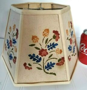 Vtg 8 Fabric Lamp Shade 6 Sides Stencil Flower Primitive Country Farm House