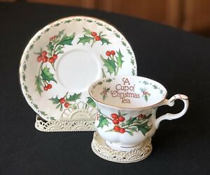 Vintage 1992 Tom Hegg Bone China A Cup Of Christmas Tea Cup Saucer Set