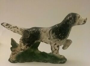 Antique Painted Cast Iron Pointer Hunting Dog Paperweight Desk Ornament Hubley