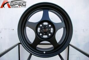 15x7 Rota Slipstream 4x100 40 Flat Black Rims New Set
