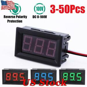 3 50pcs Mini Red Blue Green Led Dc 100v Voltmeter Gauge Volt Panel Meter Display