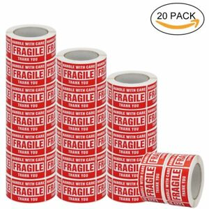 20 Rolls 3 x5 Fragile Warning Sticker Handle With Care Shipping Label 500 roll