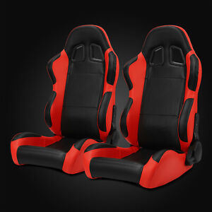 Universal Pairs Jdm Black red Carbon Fiber Mixed Pvc Leather Racing Bucket Seats