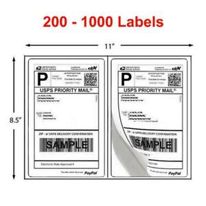200 1000 Shipping Labels 8 5 X 5 5 Half Sheets Blank Self Adhesive 2 Per Sheet