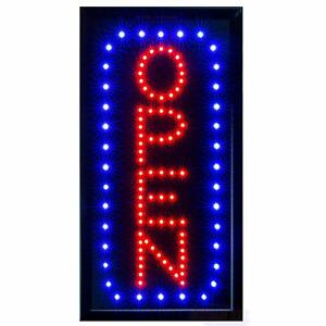 Led Neon Open Sign For Business Vertical Lighted Sign Open With Static And Flas