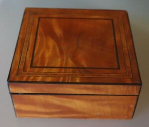 8 8 Antique Satin Wood Marquetry Velvet Lined Square Jewelry Box Or Casket