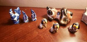 Vintage Russian Small Lot Seven Porcelain Figurines Statuette Dog And Chicken