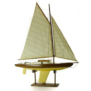 Vintage Toy Sailboat Cutter Yacht Model Boat White Brown Large Decoration Ocean