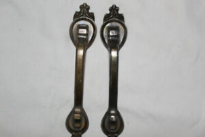 Lot Of 2 Vintage Antique Brass Thumb Latch Door Cabinet Pull Handle