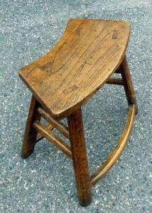 Antique Chinese Chestnut Bench Table Chair 18 19th C Curved Seat