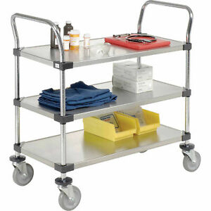 Stainless Steel Utility Cart 3 Shelves 36x24x38 Lot Of 1