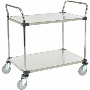 Stainless Steel Utility Cart 2 Shelves 36x18x38 Lot Of 1