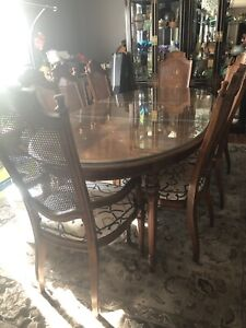 Mcm Drexel Heritage Dining Room Set Table Chairs China Cabinet Server