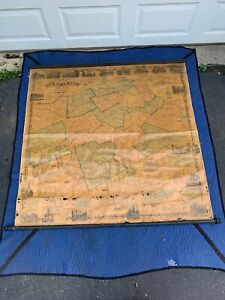 Antique 1858 Delaware Co New York 58 X 58 Wall Map