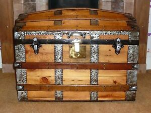 Very Large Antique Fully Restored Travel Trunk Chest Pirate Vintage Spectacular