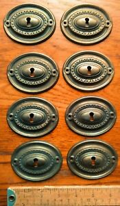 8 Vintage Hepplewhite Style Escutcheon Plates Aged Brass Color Key Hole Covers