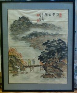 Vintage Signed Xiuxiang Chinese Ink Watercolor Painting On Paper Fishing Scene