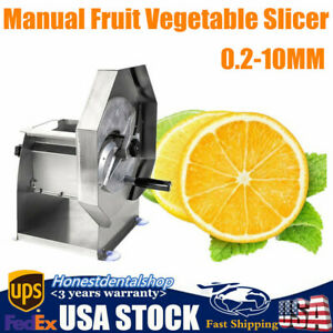 Manual Slicing Machine Chips Vegetable Fruit Slicer Cutter Thickness Adjustable