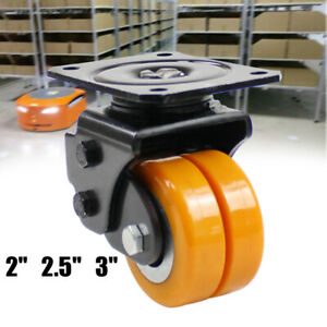 Heavy Duty 2 2 5 3 Inch Caster Polyurethane Wheels With Brake Swivel Top Plate